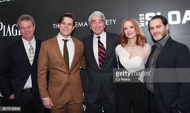 John Madden Jake Lacy Sam Waterson Jessica Chastain and Michael Stuhlbarg attend a Cinema Society screening of EuropaCorp's Miss Sloane at SAGAFTRA...