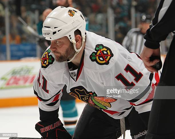 John Madden of the Chicago Blackhawks waits for a faceoff in Game One of the Western Conference Finals during the 2010 NHL Stanley Cup Playoffs...