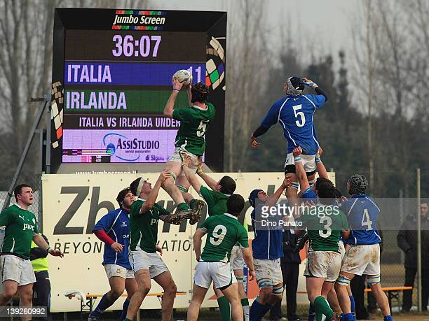 John Madigan of Ireland U18 wins the line out ball during the U18 rugby test match between Italy U18 and Ireland U18 on February 18 2012 in Badia...