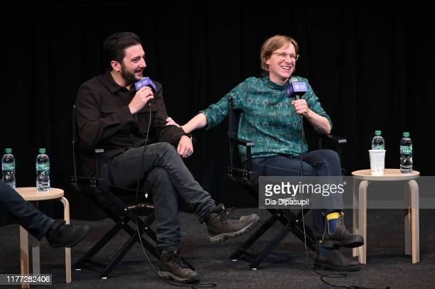 John Magaro and director Kelly Reichardt at the First Cow press conference during the 57th New York Film Festival at Walter Reade Theater on...