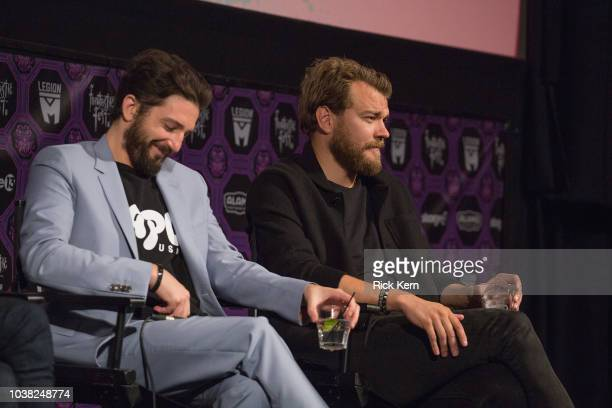 John Magaro and Pilou Asbaek at the QA after the World Premiere of 'Overlord' during the 2018 Fantastic Fest Film Festival on September 22 2018 in...