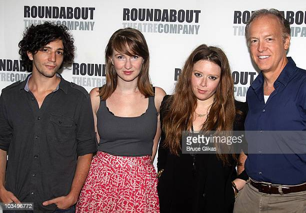 John Magaro Halley Feiffer Natasha Lyonne and Reed Birney pose at the Roundabout Theatre Company's 'Tigers Be Still' cast photo call at The...