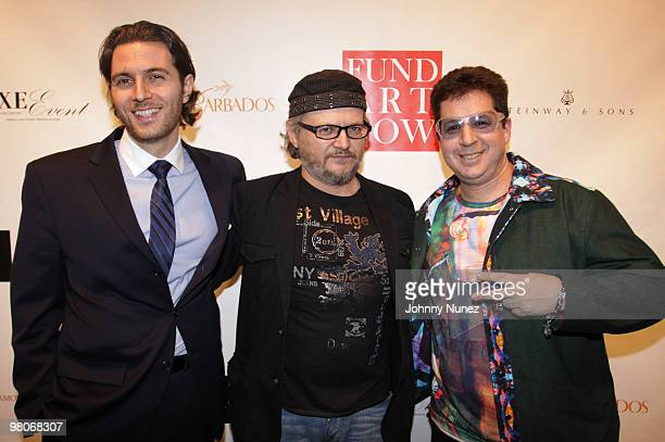 John Magzalcioglu Anton Kandinsky and Noah G Pop attend Fund Art Now's celebrity charity event at Collective Hardware on March 25 2010 in New York...