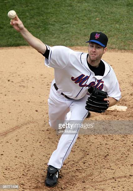 John Maine of the New York Mets pitches against the Los Angeles Dodgers on April 28 2010 at Citi Field in the Flushing neighborhood of the Queens...