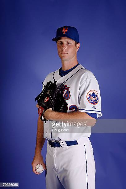 John Maine of the New York Mets poses during Spring Training Photo Day at Tradition Field on February 23 2008 in Port Saint Lucie Florida