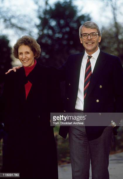 John Major and his wife Norma take a stroll through St James Park during the November 1990 election campaign which saw him elected as British Prime...