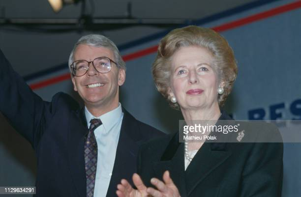 John Major and Margaret Thatcher at the Conservative meeting.