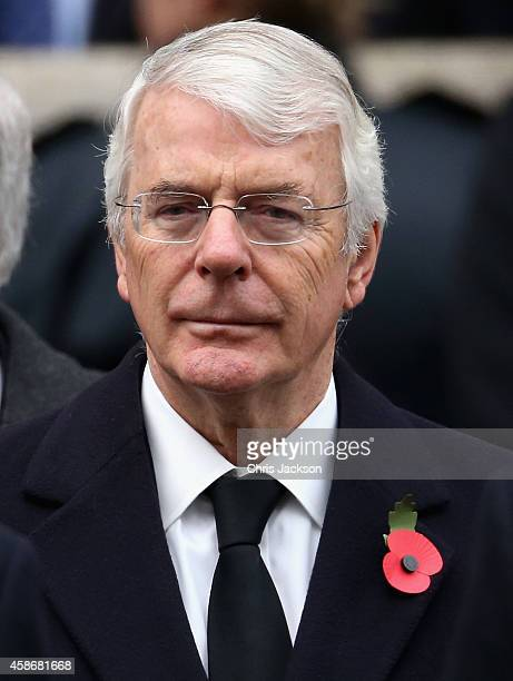 John Major attends the annual Remembrance Sunday Service at the Cenotaph on Whitehall on November 9, 2014 in London, United Kingdom. People across...