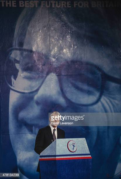 John Major, British Prime Minister, addresses a Conservative Party General Election Press Conference on March 18, 1992 in London, England.
