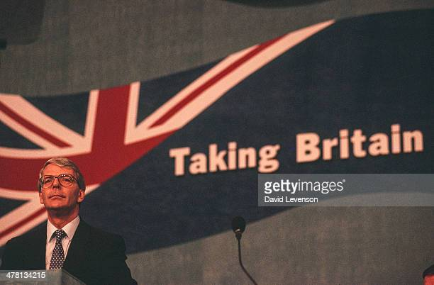 John Major, British Prime Minister, addresses the annual Conservative Party Conference on October 9, 1992 in Brighton, England.