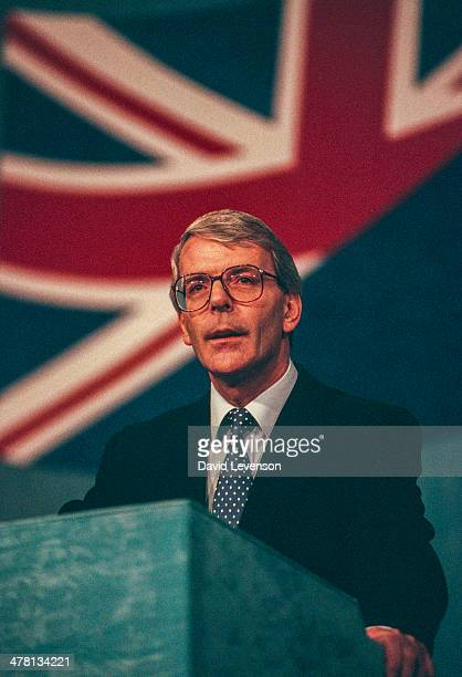 John Major British Prime Minister addresses the annual Conservative Party Conference on October 9 1992 in Brighton England