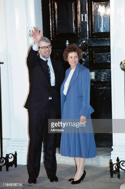John Major outside 10 Downing Street after winning the Conservative leadership battle he is pictured alongside his wife Norma 27th November 1990