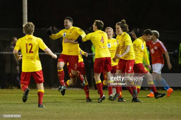 John Majurovski of Broadmeadow celebrates scoring a goal during the FFA Cup round of 32 match between Canberra FC v Broadmeadow Magic at Deakin...