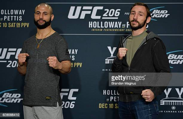 John Makdessi and Lando Vannata pose for a picture during the UFC 206 Ultimate Media Day event inside the Westin Harbour Castle Hotel on December 8,...