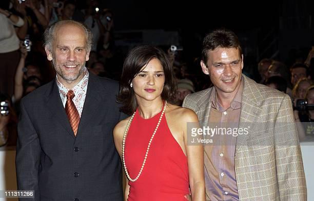 John Malkovich Chiara Caselli and Dougray Scott during 2002 Venice Film Festival Ripley's Game Premiere at Palazzo del Cinema in Venice Lido Italy