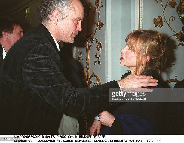 John Malkovich Elisabeth Depardieu Hysteria preview and dinner at the Man Ray