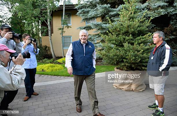 John Malone chairman of Liberty Media is the center of attention as he arrives to Allen Co annual conference on July 12 2013 in Sun Valley Idaho The...
