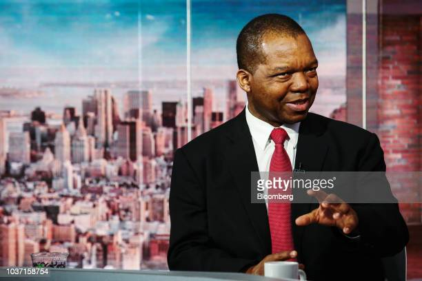 John Mangudya governor of the Central Bank of Zimbabwe speaks during a Bloomberg Television interview in New York US on Friday Sept 21 2018 Mangudya...
