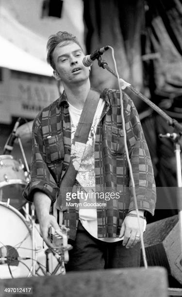 John Mann of Spirit Of The West performs on stage at Bescot Stadium Walsall Football Club United Kingdom 22nd June 1991