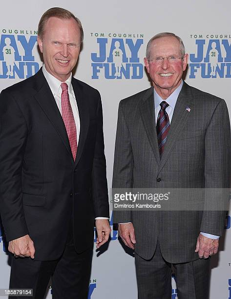 John Mara and Tom Coughlin attend the 9th Annual Tom Coughlin Jay Fund Champions For Children Gala at Cipriani 42nd Street on October 25 2013 in New...