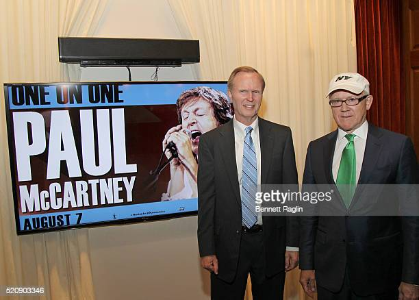 John Mara CEO of Giants and Woody Johnson Jets CEO of the Jets attend the AEG Live announcement of Paul McCarthy's concert at Met Life Stadium on...