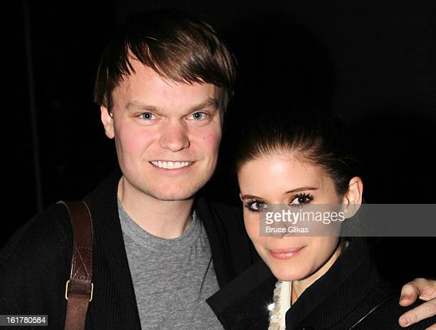 John Mara Jr and Kate Mara pose backstage at the hit musical Annie on Broadway at The Palace Theater on February 15 2013 in New York City