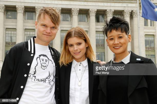 John Mara Jr Kate Mara and Michelle Cho VP Celebrity and Entertainment Outreach HSUS join The Humane Society of the United States' rally at USDA on...