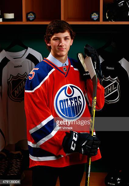 John Marino 154th overall pick by the Edmonton Oilers poses for a portrait during the 2015 NHL Draft at BBT Center on June 27 2015 in Sunrise Florida