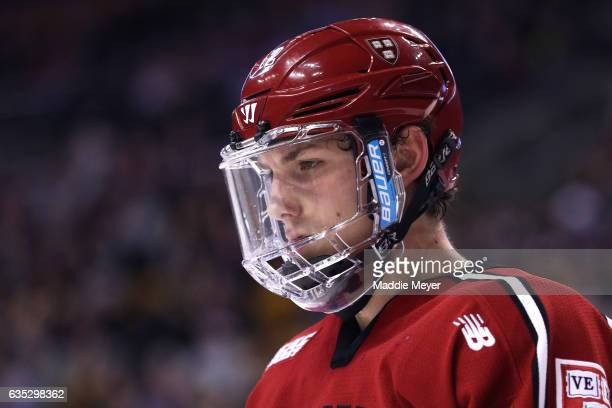 John Marino of the Harvard Crimson looks on during the third period against the Boston University Terriers during the 2017 Beanpot Tournament...
