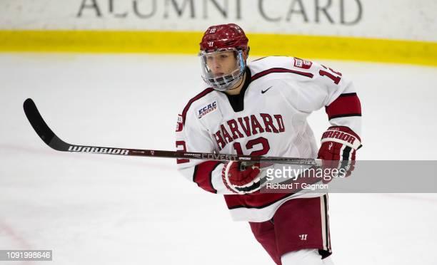 John Marino of the Harvard Crimson skates against the Boston University Terriers during NCAA hockey at The BrightLandry Hockey Center on January 8...