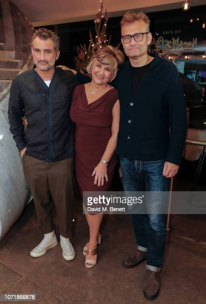 John Marquez Lesley Garrett and Hugh Dennis attend the press night performance of The Messiah at The Other Palace on December 11 2018 in London...