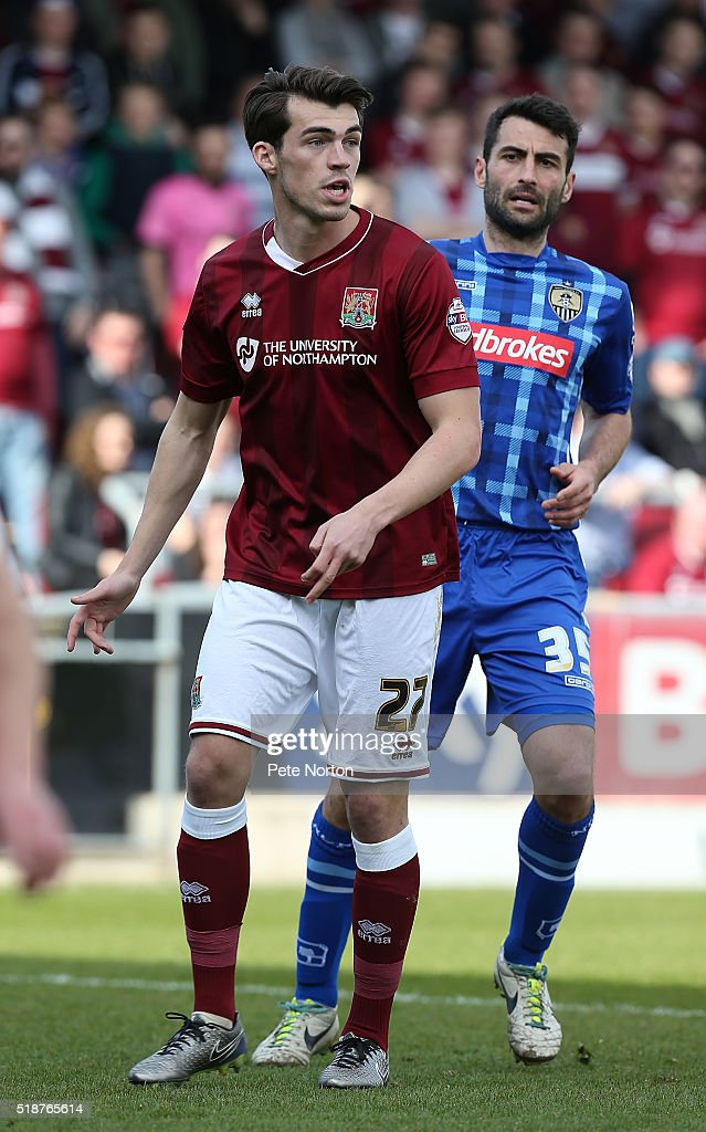 John Marquis of Northampton Town in action during the Sky Bet League Two match between Northampton Town and Notts County at Sixfields Stadium on April 2, 2016 in Northampton, England.