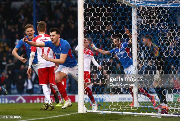 John Marquis of Portsmouth FC celebrates after scoring his team's second goal during the FA Cup Fourth Round match between Portsmouth FC and Barnsley...