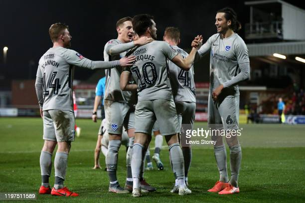John Marquis of Portsmouth FC celebrates scoring his sides seconds goal during the FA Cup Third Round match between Fleetwood Town and Portsmouth FC...