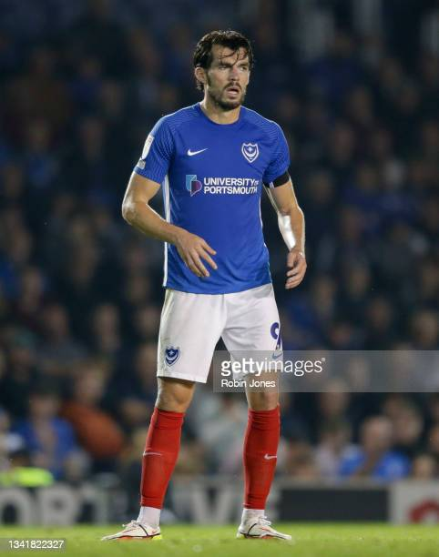 John Marquis of Portsmouth FC during the Sky Bet League One match between Portsmouth and Plymouth Argyle at Fratton Park on September 21, 2021 in...