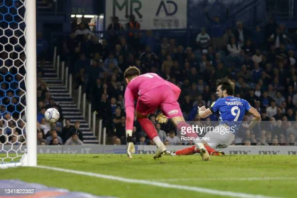 John Marquis of Portsmouth FC fires wide during the Sky Bet League One match between Portsmouth and Plymouth Argyle at Fratton Park on September 21,...