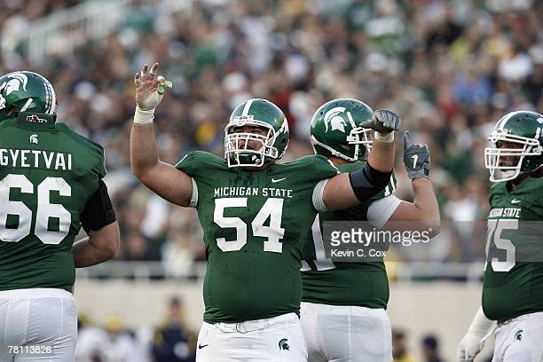 John Masters of the Michigan State Spartans celebrates on the field during the game against the Michigan Wolverines at Spartan Stadium November 3,...