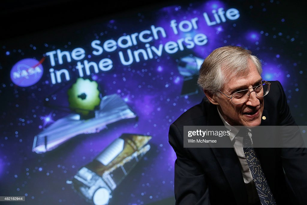 John Mather, senior project scientist for the Webb telescope at NASA's Goddard Space Flight Center, speaks at a press conference discussing 'the scientific and technological roadmap that will lead to the discovery of potentially habitable worlds among the stars' July 14, 2014 in Washington, DC. Most prominent among the methods NASA will search the universe for habitable exoplanets will be the deployment of the James Webb Space Telescope, with a mirror of 21 feet, scheduled to be launched in 2018.