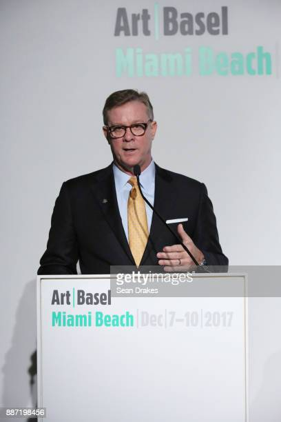 John Mathews Group Managing Director Head of Private Wealth Management and Ultra High Net Worth for UBS Americas talks during a media conference at...