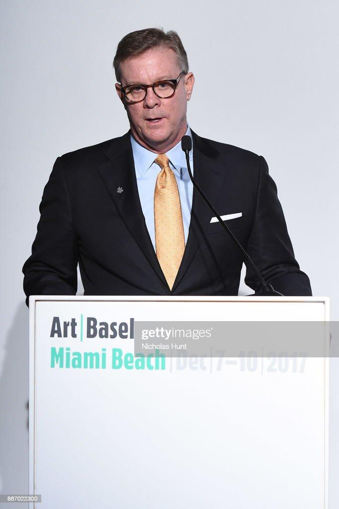 John Mathews of UBS speaks at the Art Basel Miami Beach 2017