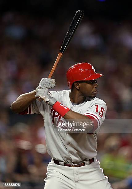 John Mayberry Jr #15 of the Philadelphia Phillies bats against the Arizona Diamondbacks during the MLB game at Chase Field on May 10 2013 in Phoenix...