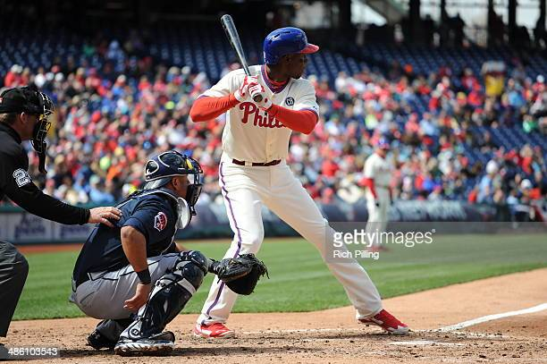 John Mayberry Jr #15 of the Philadelphia Phillies bats during the game against the Atlanta Braves on April 17 2014 at Citizens Bank Park in...