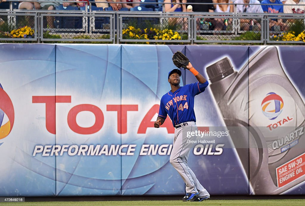 John Mayberry Jr. #44 of the New York Mets catches a fly ball in the second inning against the Philadelphia Phillies at Citizens Bank Park on May 8, 2015 in Philadelphia, Pennsylvania.