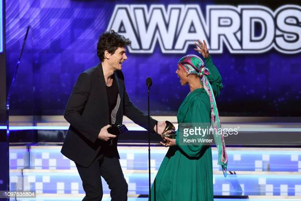 John Mayer and Alicia Keys speak onstage during the 61st Annual GRAMMY Awards at Staples Center on February 10 2019 in Los Angeles California