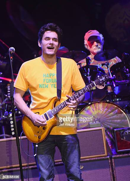 John Mayer and Bill Kreutzmann of Dead and Company perform at The Forum on December 31 2015 in Inglewood California