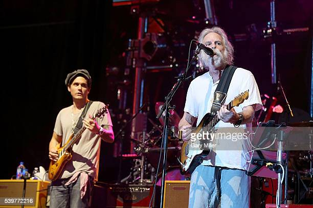 John Mayer and Bob Weir perform in concert with Dead Company during day 4 of the Bonnaroo Music and Arts Festival on June 12 2016 in Manchester...