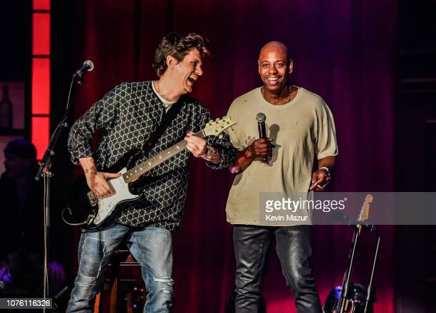 John Mayer and Dave Chappelle perform their music and comedy show Controlled Danger on December 30 2018 at the MGM Grand Garden Arena in Las Vegas...