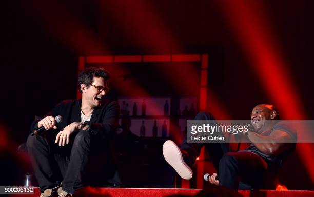 John Mayer and Dave Chappelle performs onstage during Dave Chappelle and John Mayer Controlled Danger at The Forum on December 31 2017 in Inglewood...