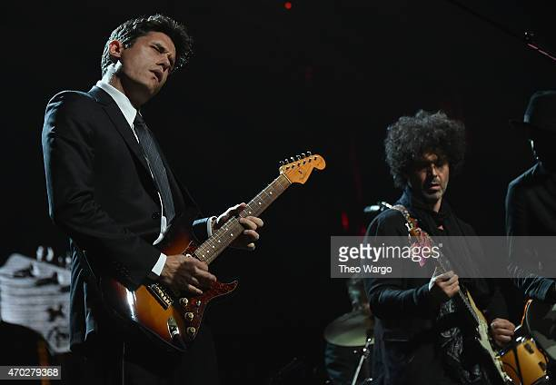 John Mayer and Doyle Bramhall II perform songs by Stevie Ray Vaughan and Double Trouble onstage during the 30th Annual Rock And Roll Hall Of Fame...