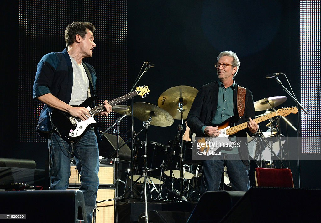 John Mayer and Eric Clapton perform onstage during Eric Clapton's 70th Birthday Concert Celebration at Madison Square Garden on May 1, 2015 in New York City.